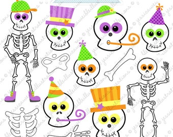 Silly Skeletons Cute Digital Clipart - Commercial Use OK - Skeleton Clipart, Skeleton Graphics, Digital Art, Halloween