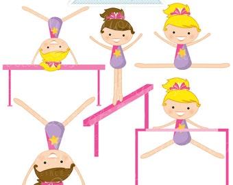 Tumblers Cute Digital Clipart - Commercial Use OK- Girls Gymnastics Graphics, Gymnast, Gymnastics Clipart