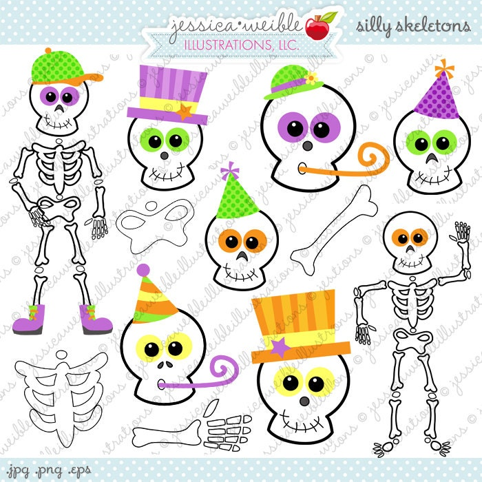 Silly Skeletons Cute Digital Clipart Commercial Use OK
