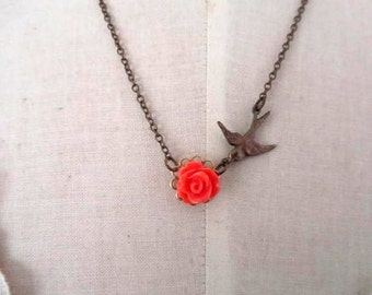 coral rose with antique bronze bird charm connected necklace 16inch chain adjutable