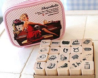 20 Set - Shopaholic 60's Pop Art Stamps in Pouch (5.7 x 4.9in)