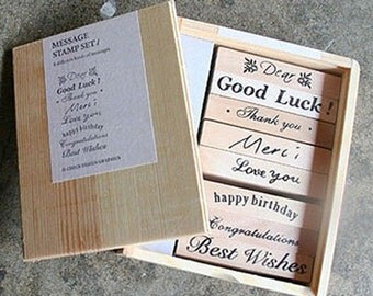 8 Set - Various Message Stamps Box (3.9 x 5in)