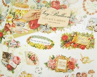 Say Balloon Stickers / Flower Garden - 2 sheets (4.7 x 7in)