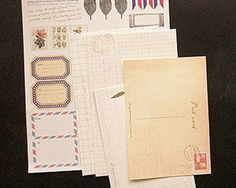 Various Post Vintage Stickers & Envelopes - A (6.2 x 7.9in)