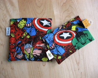 Md/ Sm Avenger Set Snack Sandwich Baggie Bag Set with water resistant lining