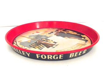 Vintage Valley Forge Beer Metal Tray with Washington's Headquarter's Illustration