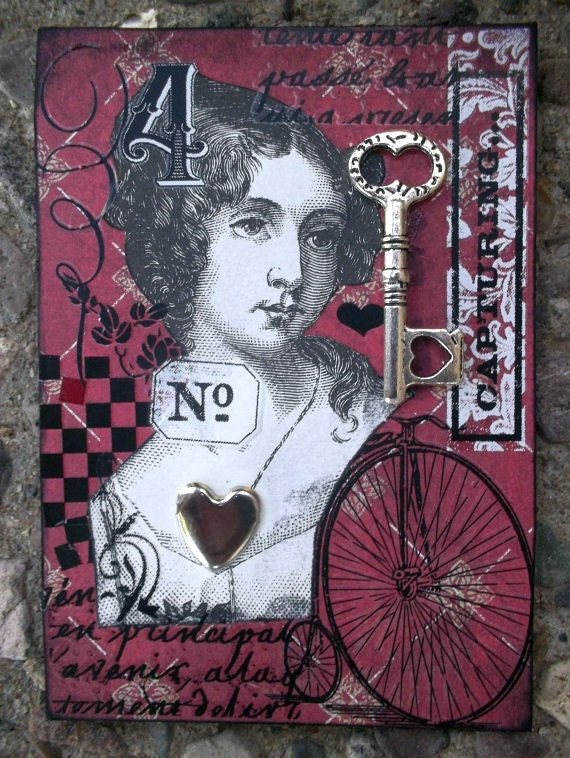 Captured In Time ACEO  ACEO Artist Trading Card Alteredhead On Etsy Artwork ATC Original Handmade Design On Etsy Artwork
