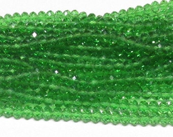 4x6mm Green Faceted Crystal Rondelle Beads (50)