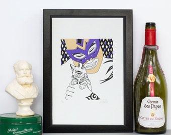 Luchador Kitten Poster Print