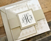 Bella Wedding Invitation Suite with Belly Band - Champagne Gold, Ivory and Charcoal Gray