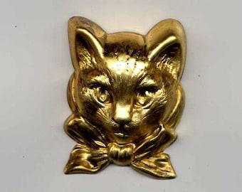 2 Large 3D Cat Head Brass Metal Stampings