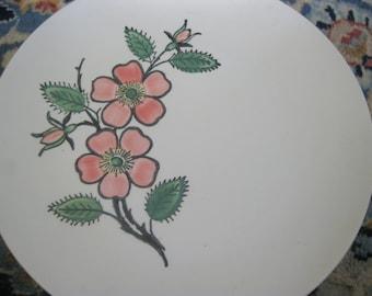 Blue Ridge Pottery, Set of 4 Dinner Plates, Pink Flower