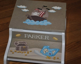 Kids Personalized 2 Step Stool and Storage Bench - Pirates Treasure Hunt