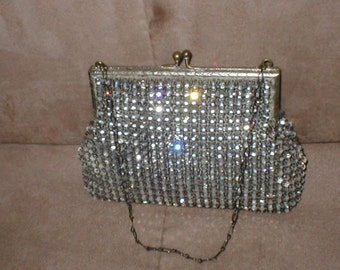 Antique Vintage Solid prong-set Rhinestone Purse