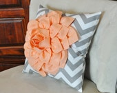 Peach Dahlia on Gray and White Zigzag Pillow -Chevron Pillow- NEW BEDBUGGS COLOR