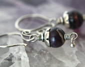 Purple Stichtite and Silver Dangle Earrings---Sterling Silver---Creations by Sandy