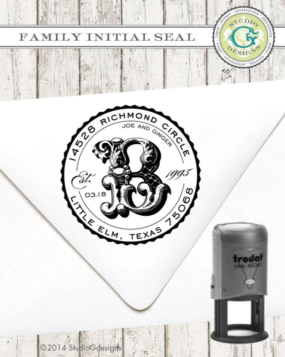 Self-Inking Return Address Stamp – 1 5/8 in FAMILY INITIAL SEAL –Personalized Wedding Paper Goods