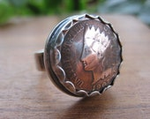 Bezel-Set Native American Indian Head Penny / Buffalo Nickel Ring with Sterling Silver Band MADE TO ORDER.