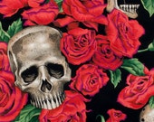 Resting in Roses Day of the Dead- Alexander Henry Skeleton 1 Yard Fabric