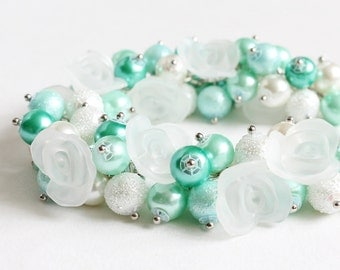 Turquoise Mint White Cluster Bracelet and Earrings Set