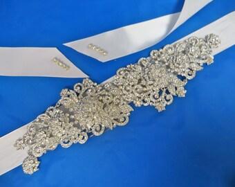 Art Deco Sash, Bridal Wedding Sash, Wedding Crystal  Sash, Bridal Rhinestone Belt,  Rhinestone Crystal Sash