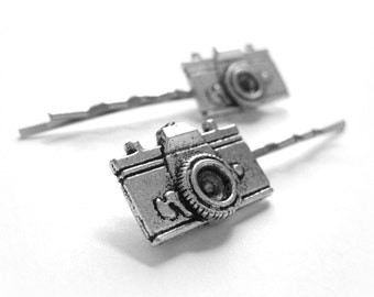 Camera Bobbypins - Silver Bobby Pins -  Photographer Jewelry - Decorative Hair Pins - Hipster Gift - Teen Hair Accoessories 2pcs