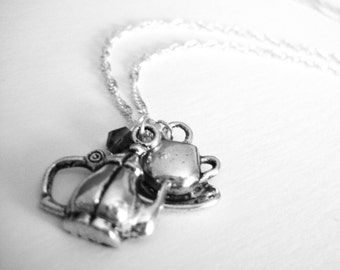 Tea Jewelry - Necklace For Mom Jewelry - Tea Necklace - Tea Gift Teapot Jewelry - Teapot Necklace Tea Cup Necklace Sterling Silver Tea Set