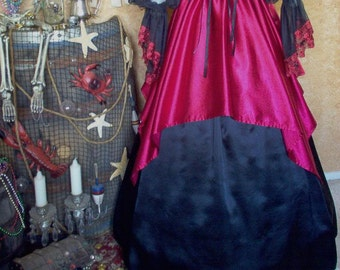 Red and Black Satin Pirate Renaissance Steampunk Skirt Set. Available In Other Colors. Plus Sizes Available.