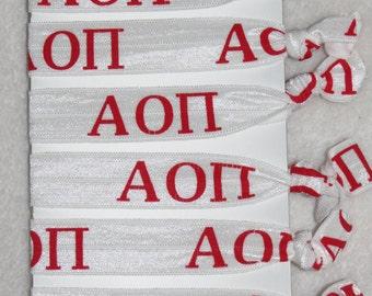 Set of 6 ready-made Alpha Omicron Pi sorority Hair Ties FOE stretch foldover fold over elastic