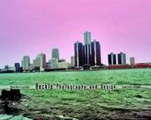 Pink Sky across the Detroit River photograph