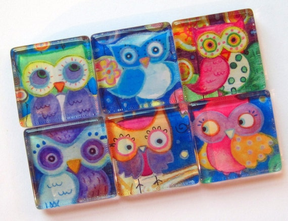 Owl Magnets - Colorful and Fun - Set of Six1 Inch Glass Magnets