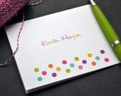 Personalized Stationery / Personalized Stationary / Personalized Note Cards / Stationery Set - Personalized Colorful Dots Design