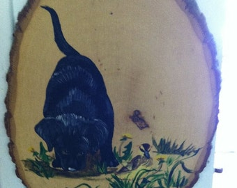 Wood Slice Hand Painted Dog Plaque UNDER 20