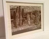 Cacti from Arizona - Linocut