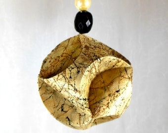 Christmas Ornament Gold Marble Hand Decorated Origami Paper Sculpture OOAK