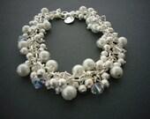 White Pearl Cluster Bracelet, Silver Stardust, Clear Swarovski Crystal, Silver Bracelet, Bridesmaid Gifts, Bridal Pearl Bracelet, Winter.