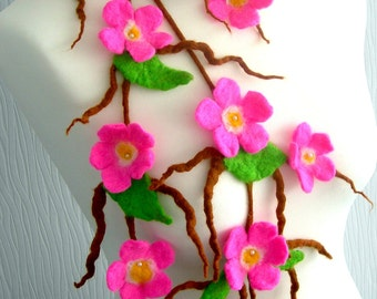Felted Flower, Hand Felted, Wool Jewelry felted  necklace-  sakura blossom-