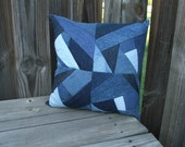 Crazy quilt jean pillow--OOAK