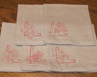 Set of 5 Embroidered linen napkins