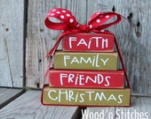 Christmas primitive Wood Stacker block set believe joy peace love Gift Christian Religious Jesus Faith Winter Seasonal Home decor gift Faith