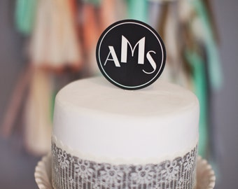 Art Deco Circle Cake Topper: Monogrammed