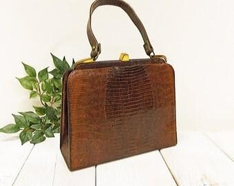 "Vintage 1960's ""Palizzio"" Brown Lizard Handbag-- Classic Kelly Style Purse-- Genuine Lizard Skin"