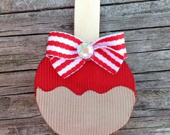 Caramel Apple Hair Clip, Candy Apple Hair Clip, Red Apple Hair Clip, Ribbon Sculpture Hair Clips, Carnival Hair Bow, Fair Hair Clip