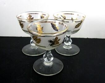 Libbey Golden Foilage 3  ~ Glasses  Champagne - Sherbet Gold Trim