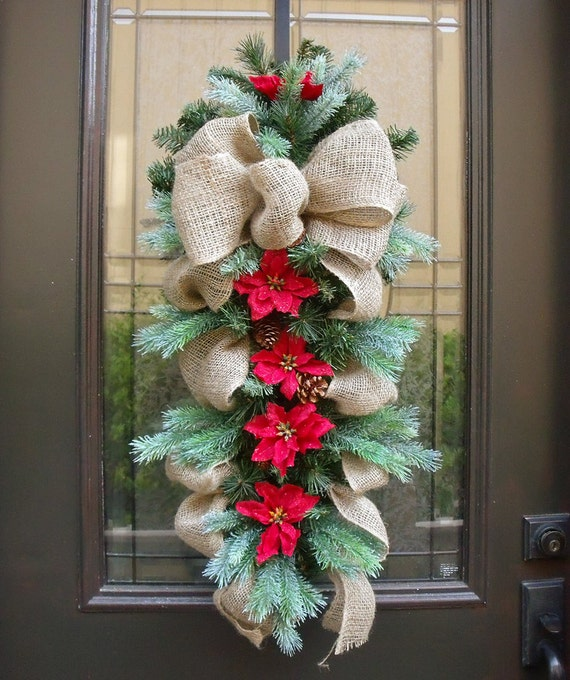 Country christmas swag burlap swag holiday wreath burlap for How to decorate a burlap wreath for christmas