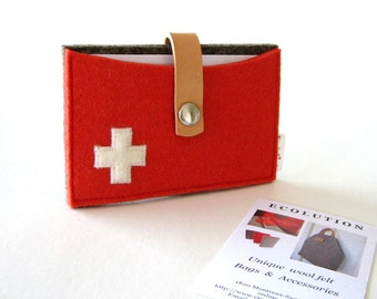 Wool felt wallet-Business Card Holder-Credit Card case.Red-gray-white Swiss Cross- Handmade- Eco Friendly - industrial
