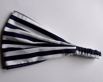 Cotton Yoga Headband Half Inch Stripe in Navy Riley Blake fabric
