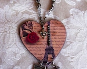 PARIS ROMANTIC Valentine Heart Charm Keepsake Eiffel Tower French Necklace