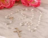 Crystal Rosary Prayer Beads AB Clear Crystal and Pearl Catholic Rosary  5 Decade Handmade