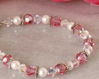 "Pink Crystal Bracelet 7"" White Pearl Beaded Spring Summer Bracelet October Birthstone Vintage Beads Handmade"